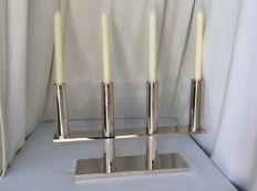 Design silver plated candle stand, Fink Germany 1990