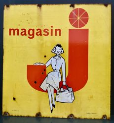 Enamel advertising MAGASIN J - France, ca 1960