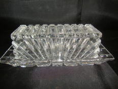 Crystal Butter Dish WIth Details