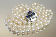 Beautiful long necklace 7 mm Akoya pearl necklace with silver sapphire clasp