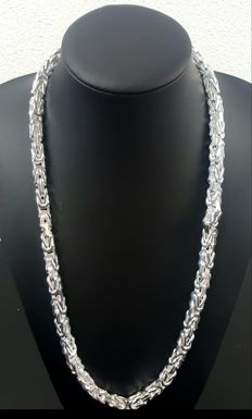 Silver king's braid link necklace, length: 70 cm, width: 8 mm, weight: 258 g
