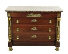 Empire style  Chest of drawers with black merged marble top and intricate brass / bronze decoration (applications), late 20th century