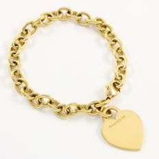 Tiffany & Co. - 18K Yellow Gold Heart Tag Charm Bracelet - 18.5 cm long
