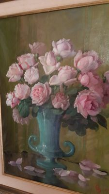 Unintelligible signature (20th century) - vase with pink roses