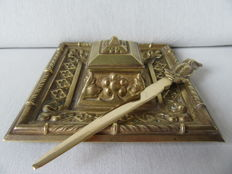Bronze inkstand with letter opener