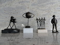 Corry Ammerlaan van Niekerk, 4 beautiful sculptures on stone pedestals
