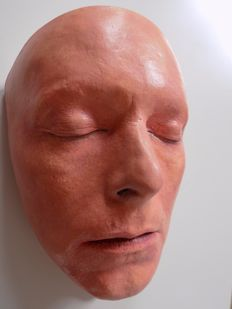 David Bowie Life Size Face Mask In Plaster Finished In a skin tone Colour .