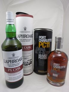 2 bottles - Laphroaig PX cask Triple cask and Port Charlotte PC 11