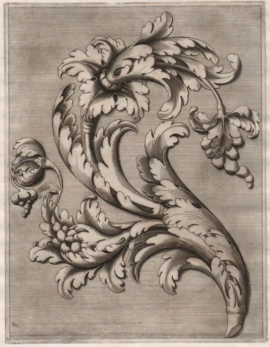 Cesare Domenichi (act. 1589-1614) and Lodovico Scalzi (act. 1580-1600) - Ornamental design with Acanthus leaf - Ca.1610