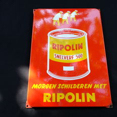 Enamel advertising sign for Ripolin paint.