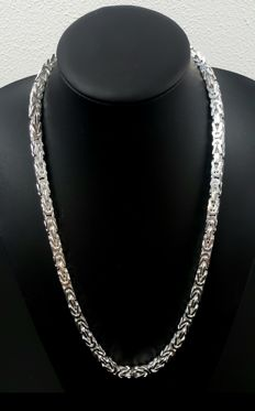 Silver king's braid link necklace, length: 64 cm, width: 6 mm, weight: 180 g, 925