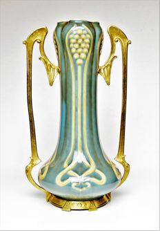 Villeroy & Boch - Jugendstil ceramic vase with a brass mounting