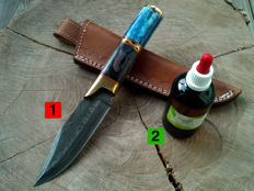 1 Damascus steel hunting knife / outdoor / camping - length 26.0 cm + 100 ml Camellia care oil to maintain the handle and the blade