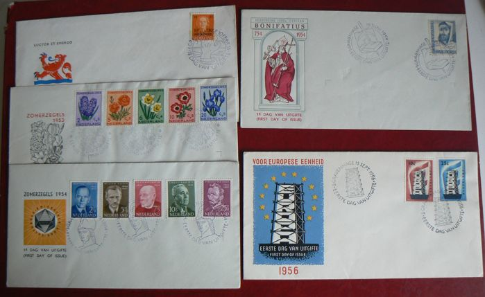 The Netherlands 1953/1956 – selection of 5 FDCs, including NVPH E13 and E16