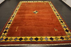 Handwoven carpet, Gabbeh, made by nomads, wool on wool, made in India, 250 x 340cm