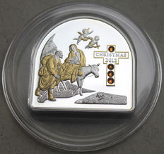 Cook Islands - 5 dollars 2012 'Fleeing to Egypt' with gold application and Swarovski components - silver