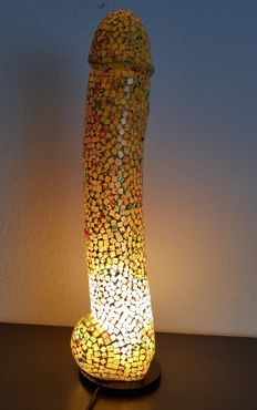 Lighting; Mosaic glass lamp in phallus form - 21st century