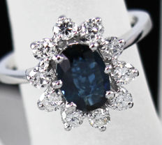 """18k White gold cluster ring - """"princess lady DI"""" style set with a 2ct blue Sapphire & brilliant sparkling diamonds"""