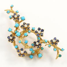14kt Yellow gold brooch with 0.35 ct Diamonds, 2.50 ct Sapphires & Turquoise