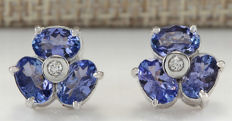 3.08 Carat Tanzanite And Diamond Earrings 14K Solid White Gold - No reserve price