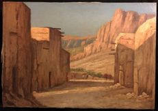 19th Century French Orientalist School  - Morocco, Atlas, orientalist landscape with figures