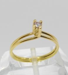 Cocktail ring in 18 kt yellow gold with diamond of 0.10 ct - No reserve