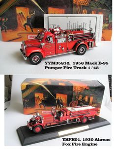 Matchbox Platinum Editions - Scale 1/43 - 1956 Mack B-95 Pumper Fire Truck and 1930 Ahrens Fox Fire Engine