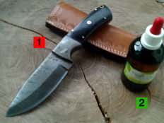 1 Damascus steel hunting knife / outdoor / camping - length 23.0 cm + 100 ml Camellia care oil to maintain the handle and the blade