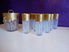 Hand-cut lead crystal glasses and ice bucket, Germany