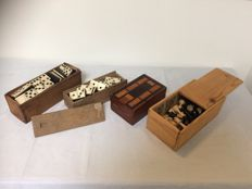 Two domino games of bone and a game box of mahogany and a chess set in box - Europe circa 1900