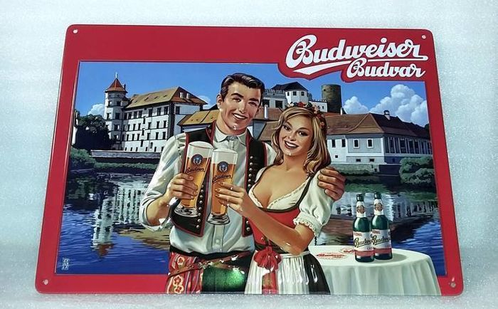 Two original Budweiser enamel advertising sign and poster on fabric - 2012