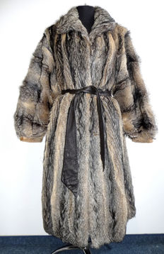 Fur coat, beautiful, made of coyote fur, made in Germany, vintage, rare