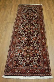 Handwoven original Persian carpet oriental Bijar approx. 220 x 73cm in great condition, Iran, fine weaving