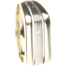 14 kt Bi-colour gold ring with matte white gold and set with 1 diamond - ring size 19.25 mm