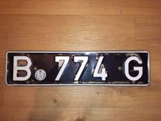 Extremely rare FBA (Belgian Forces in Germany) license plate with registration certificate