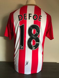 Jermain Defoe signed Sunderland Fc home shirt 2016 - 2017 with photos of the moment of signing and COA