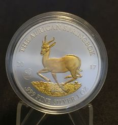 Malawi Springbok - 2017 Gabon 1000 Francs - Silver 999 golden coin, finished with gold 999 - 50th Anniversary