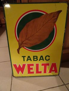 Emaille bord welta tabac 1954