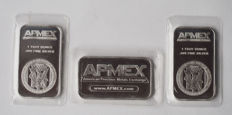 Three 1 troy ounce silver ingots by American Precious Metal Exchange