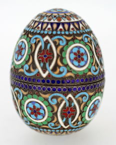 Russian Silver Gilt and Cloisonne Enamel Egg, Circa.1950's