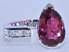 7.51 Ct Pink pear Tourmaline with Diamonds, designer ring