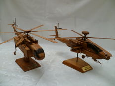2 Decorative replica helicopters in walnut - 1-APACE-AH64D longbow - 2-SIKORSK-CH-54A SKYCRANE