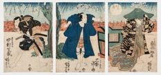 Original triptych by Utagawa Kuniyoshi (1797-1861) - Famous Saya-ate scene between Fuwa Banzaemon and Nagoya Sanza - Japan - 1833