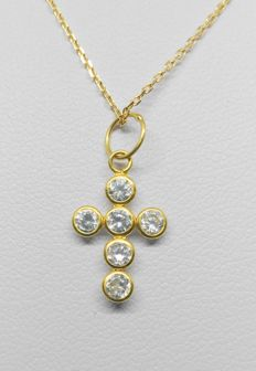 Necklace and pendant in 18 kt yellow gold - Cross with zirconias.