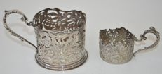 Two silver glass holders, The Netherlands/Germany