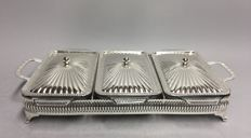 Silver plated plate carrier with three refractory trays with silver plated lid, England, mid 20th century