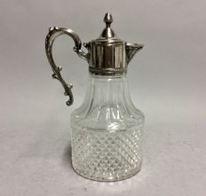Large cut glass decanter for red wine with silver plated mounting, so-called. claret jug, England, ca. 1935