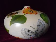 Unusual large painted wooden round vase with butterflies and sunflowers