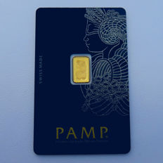 Switzerland - Pamp Suisse - 1 g of 999.9 gold / gold bar - in blister packaging - with certificate and serial number