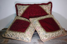 3 Pillows with flower brocade trim and real finely embroidered French velvet / handiwork
